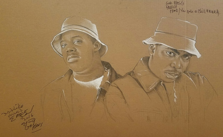 """'EPMD' - 22"""" x 34"""" - graphite and white charcoal on cardboard"""