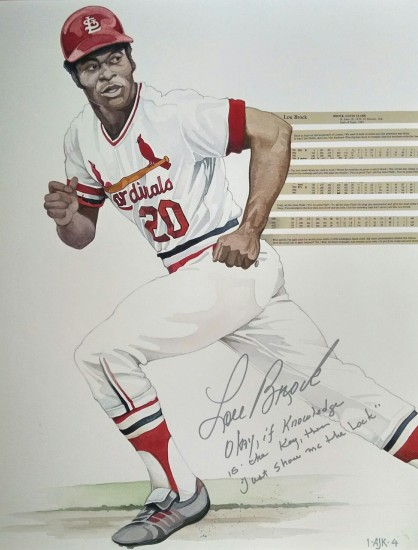 "Lou Brock - Watercolor on Paper - Signed and Inscribed by Lou Brock - ""Okay, If knowledge is the key then just show me the lock."""