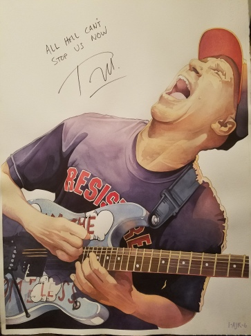 """The 'finished' watercolor - Tom Morello 22"""" x 30"""" - signed and inscribed with the lyrics """"All Hell, Can't Stop Us Now"""""""