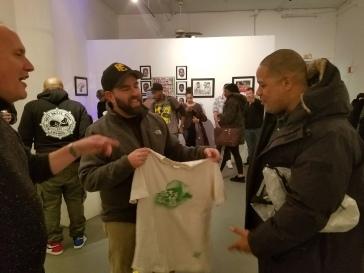 Me, presenting Joe Buck with my vintage De La Soul is Dead t-shirt