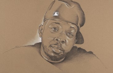 Phife Dawg - Graphite and White Charcoal on Cardboard