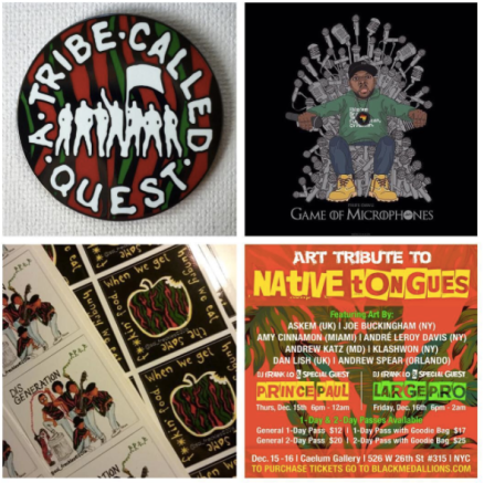 Many of the attendees walked away with some great souvenirs - buttons, stickers, and this incredible Phife 'Game of Microphones' print from Madina Design (UK). I managed to grab one of these, myself!