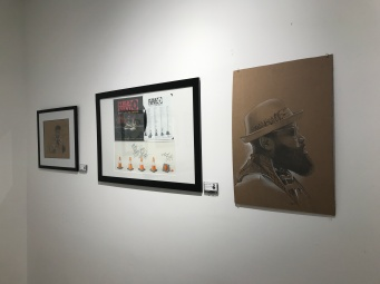 Black Thought, chillin' with my Biz Markie piece, and the Man Plans God Laughs artwork