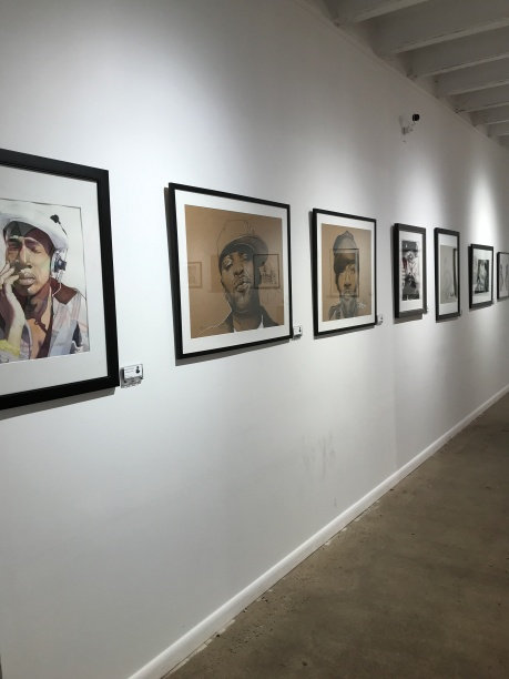A line of portraits - Grandmaster Flash, Method Man, Redman, Chuck D, Kool Keith, KRS One, and EPMD